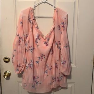Lane Bryant Pink flowered blouse
